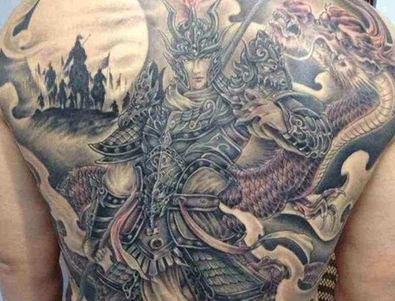 纹身图案男后背赵子龙满背酷帅图案