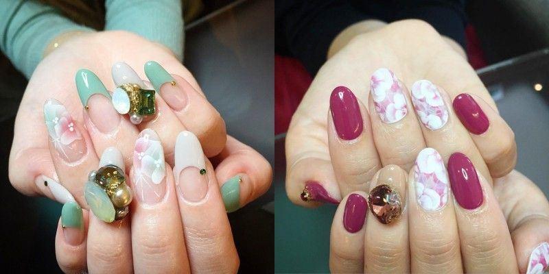 日本潮流时尚椭圆形花卉美甲彩绘图片