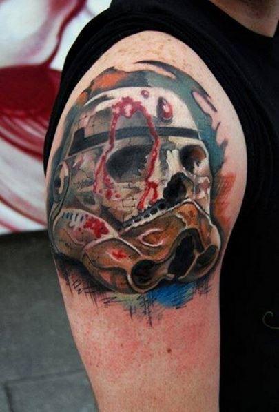 男子胳膊上惊悚恐怖骷髅头纹身图案图片