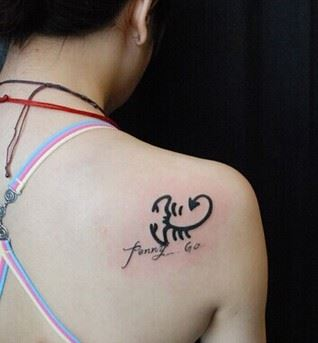 性感美女肩部蝎子纹身图案大全图片